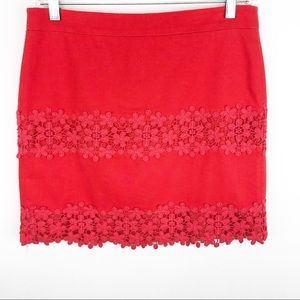 J Crew Red Lace Skirt Size 2
